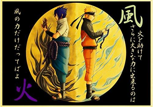 Póster De Lienzo Anime Japonés Carteles De Naruto Colección De Figuras De Naruto Pegatinas De Pared De Anime Bares Interiores Cafeterías Pintura Decorativa 50 * 70Cm Relación Calidad-Precio Sin Marco