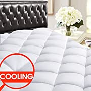 """SOPAT Queen Mattress Pad Topper - 400 Thread Count Cooling Pillow Top Plush Mattress Cover Reversible Quilted Fitted Mattress Protector with 8-21"""" Deep Pocket for All Season"""