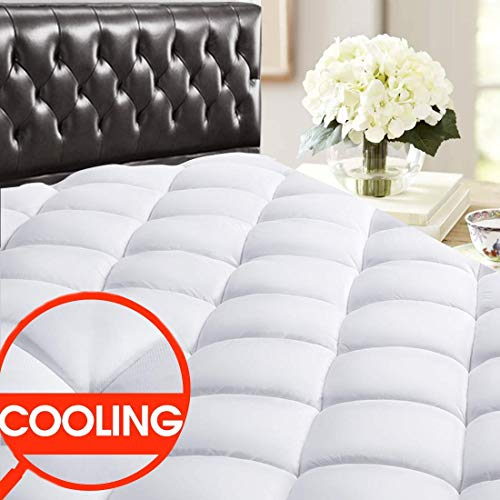 SOPAT Queen Mattress Pad Topper - 400 Thread Count Cooling Pillow Top Plush Mattress Cover Reversible Quilted Fitted Mattress Protector with 8-21' Deep Pocket for All Season