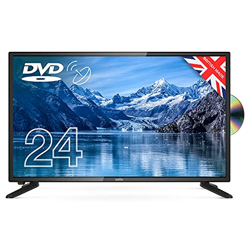 """Cello 24"""" inch ZSF0242 LED TV with built in DVD HD Ready Freeview HD and Built In Satellite receiver. Made In The UK Black"""