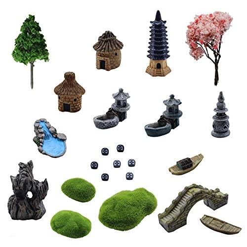 Zen Garden Accessories 23 pcs Mini Zen Garden Accessories,Desktop Mini Zen Meditation Garden Pagoda...