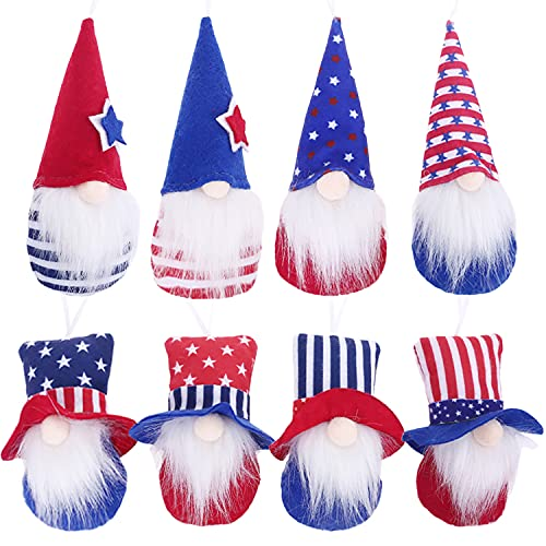 4th of July Gnome Hanging Ornaments Set of 8, Independence Day Handmade Plush Gnome Decorations ,Xmas Plush Scandinavian Santa Beard Ornaments for Christmas Tree Fireplace Home Decor (B)