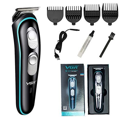 Cortapelos y cortadora de barba eléctricos inalámbricos para uso doméstico, cortapelos profesional recargable Yobobo VGR para hombres y niños con 4 peines guía, peinado fácil para toda la familia