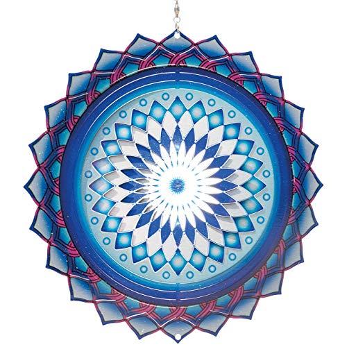 CIM Edelstahl Windspiel – Mandala ASSAM - Ø 250mm – leichtdrehendes Windmobile mit brillanten Farben und feinen Mustern – inklusive Aufhängung – attraktive Raum-, Fenster- und Garten-Dekoration