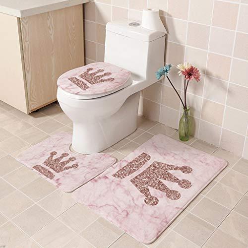 FeiliandaJJ 3pcs Badematten Set,Bad Teppiche Set Einfacher Stil Rosa Rutschfest Waschbar Flanell Badgarnitur Badezimmer Matte Set Dusch Vorleger Teppich für Badezimmer Toilet (B)