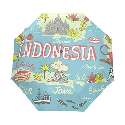 Indonesia Map Places of Interest paraguas compacto de viaje, para la lluvia...
