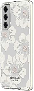 kate spade new york Defensive Hardshell Case Compatible with Samsung Galaxy S21 5G - Hollyhock Floral Clear/Cream with Stones/Cream Bumper