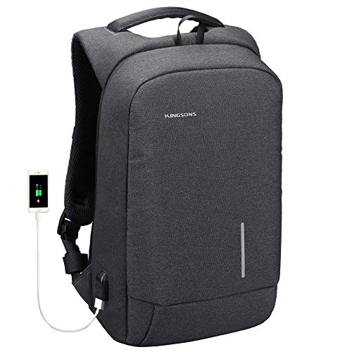 Kingsons Laptop Backpack, Business Travel Computer Bag with USB Charging Port Anti-Theft Water Resistant for 13.3-Inch Laptop(Dark Grey)