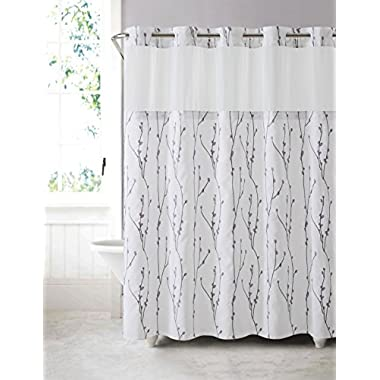 Hookless RBH40MY080 Cherry Bloom Shower Curtain with Peva Liner - White Lilac