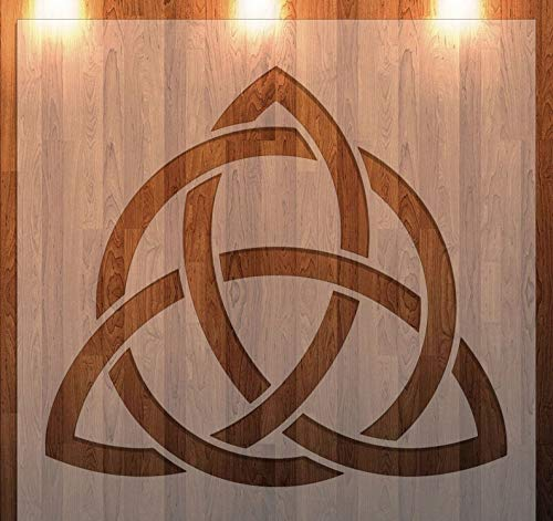 Celtic Knot Triquetra Reusable Stencil for Painting on Wood, Wall, Furniture, Airbrush Drawing Pattern/Design: Geometric Knotwork Material: Plastic, Mylar Size: 8'x 8'