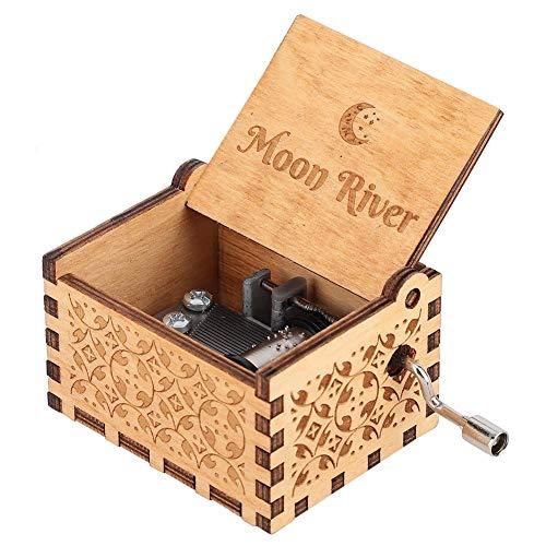 FTVOGUE Handkurbel Geschnitzte Sperrholz Spieluhr Holz graviert musikalische Spielzeug Handwerk Home Decor Geschenk für Kinder Musikliebhaber(#3: Moon River)