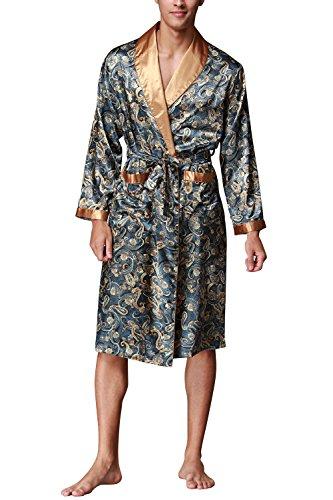 Dolamen Herren Morgenmantel Bademäntel Kimono, Weich u. Leicht glatte Luxus Satin Nachtwäsche Bademantel Robe Negligee locker Schlafanzug mit Belt & Pockets (X-Large, Lakeblue)