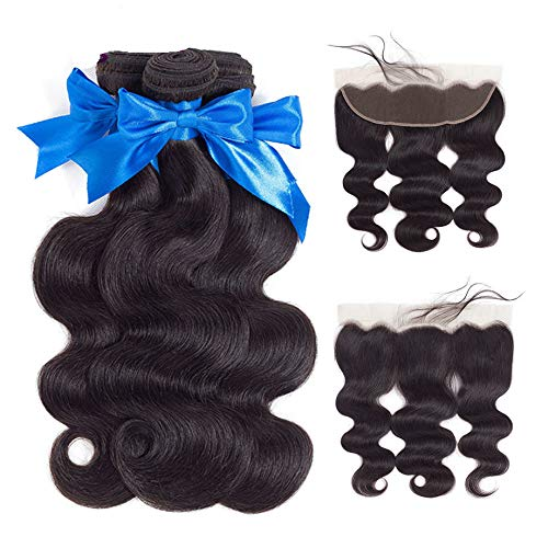 Brazilian Virgin Hair 3 Bundles with Frontal Brazilian Body Wave Human Hair Ear To Ear Lace Frontal Closure with Bundles Frontal with Baby Hair Natural Color (12 14 closure 10)