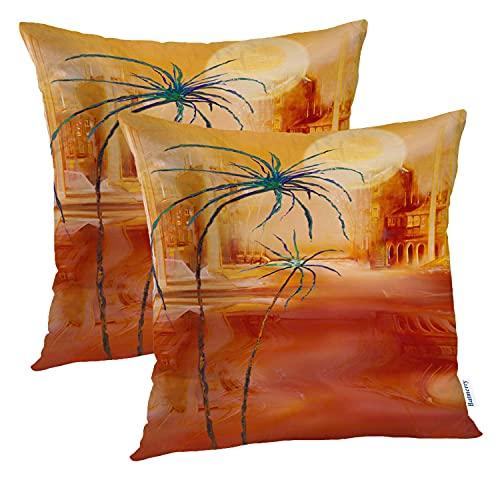 Juego de 2 Fundas de Almohada Decorativas marroquíes de Verano, 2 Fundas de Almohada Decorativas con Pintura de Palma del Desierto, cojín 50 * 50 CM