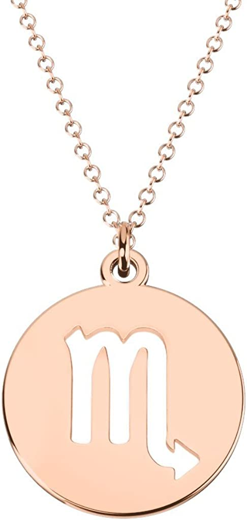 14K Gold Popularity Scorpio Zodiac Symbol Necklace by Disc Some reservation JEWLR Cutout