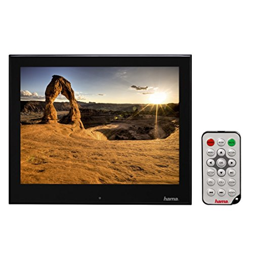 Hama Digitaler Slimline Premium Acryl Bilderrahmen (20,3 cm (8 Zoll), SD/SDHC/MMC-Kartenslot, USB 2.0, mit Fernbedienung) schwarz