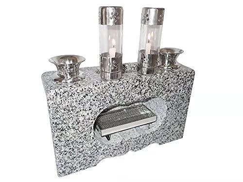 墓石 風防ローソク/ロウソク立付き 花立・線香皿一体香炉 白系供養石