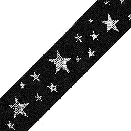 40mm (1-5/8') Star Elastic Stretch Ribbon Trim, TR-12168 (1-Yard)