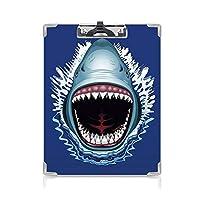 3 dパターンの クリップボード アルファベット サメ 答案用紙入れ 口を開けた攻撃鋭い歯海の危険野生生物オーシャンライフ漫画ロイヤルブルーティール
