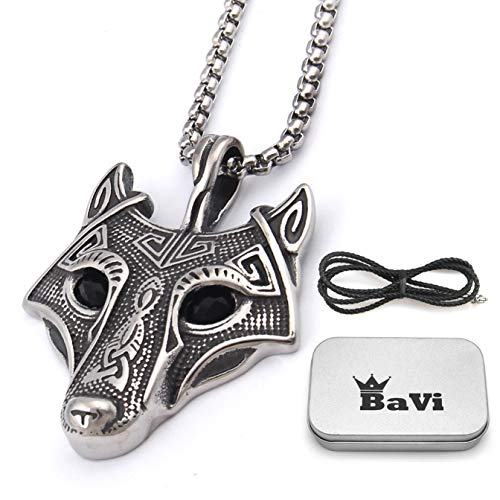 BaviPower Wolf Head Pendant with Box Chain Necklace 316L Stainless Steel Animal Spirit Totem Pendant Nordic Scandinavian Necklace Authentic Viking Men Jewelry, Bonus Leather Chain Gift