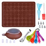 GARCENT Macaron Baking Mold, Non-Stick Silicone Pastry Baking Mat Set, 48 Capacity with Food Tongs, Measuring Spoon, Silicone Spatula, Cake Decorating Supplies