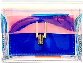 Wultia - Transparent Girl Shoulder Bag Women Laser Transparent Crossbody Bags Messenger Leather Shoulder Bag Girl Beach Bag Blue