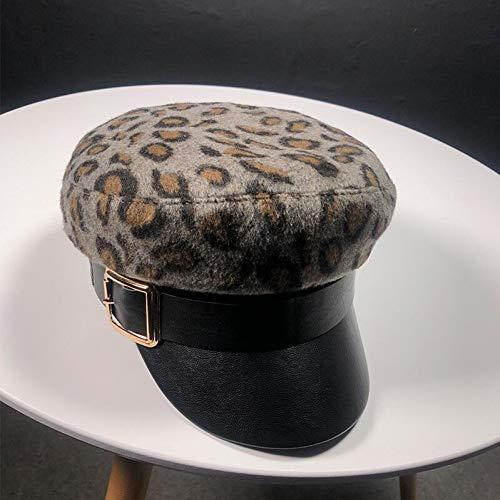 Shaoqingren Sombrero Militar con Estampado de Leopardo Sombreros Gorros de Cisne Gris Caqui Sombrero...