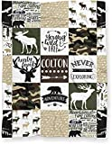 Personalized Camo Moose, Deer, and Bear Woodland Minky Baby Blanket for Boy (Soft Polyester Fleece - Green Camo Back - 30' x 40')