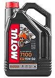 Motul 104299 7100 4T Huile pour Moto à Moteur 4 Temps 15W-50, 4l