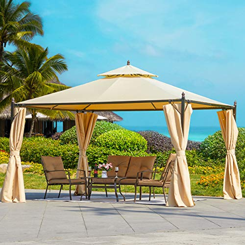 HOMROM 10x12 FT Canopy Gazebo Outdoor Gazebo Steel Frame with Vented Soft Top for...