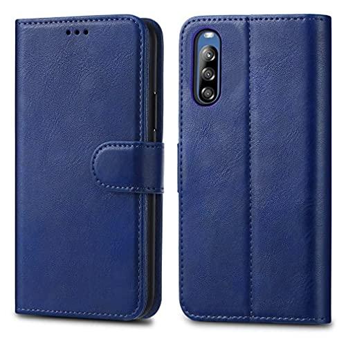 Sony Xperia L4 Lederschutzhülle – Premium Wallet Hülle Leder Flip Cover für Sony Xperia L4 6,2 Zoll [Kartenhalter] [Magnetverschlus] (Blau)
