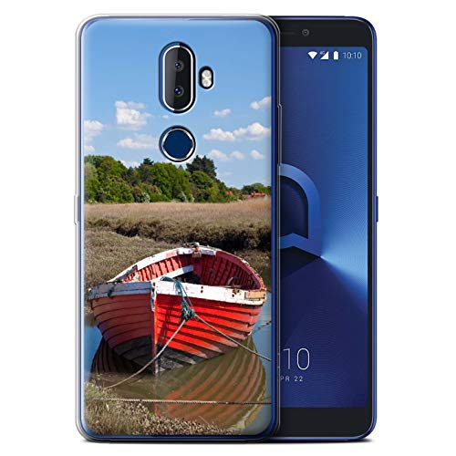 Phone Case for Alcatel 3V 2018 British Coast Red Boat Design Transparent Clear Ultra Soft Flexi Silicone Gel/TPU Bumper Cover -  eSwish, MR-ALC3V-GC-MP-COAST-REDBOAT
