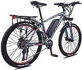 Alta Velocidad 26 Pulgadas de la Rueda de Bicicleta eléctrica de aleación de Aluminio 36V 13Ah de la batería de Litio de montaña Bicicleta de Ciclo, 27 Transmisión de Bici Ligera (Color : Blue)
