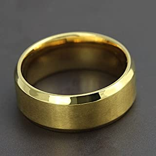 Fashion Titanium Steel Vacuum Plating 18K Gold Rings Extreme Classic Rings Mens Jewelry Size US9