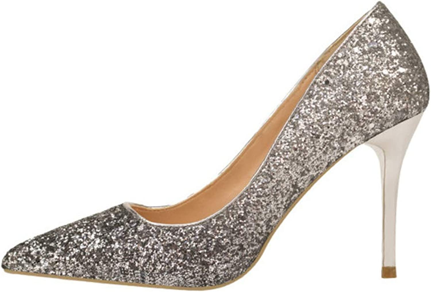CHENSF Shallow Mouth Pointed Gradient Sequins Sexy Slimming Nightclub high Heels