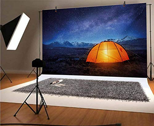 Night 10x8 FT Vinyl Backdrop PhotographersCamping Tent Under a Night Sky Full of Stars Holiday Adventure Exploring Outdoors Background for Party Home Decor Outdoorsy Theme Shoot Props