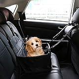 IvyLife Asiento del Coche de Seguridad para Perro y Gato Cubierta de Asiento Impermeable de Automóvil para Mascota, Funda Protector de Coche Plegable para Mascota con Cinturón de Seguridad - Negro