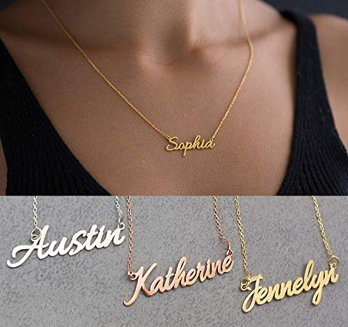 Name Necklace Personalized, Customized 10K Solid Gold Nameplate Pendant Dainty Custom Jewelry Gift for Women