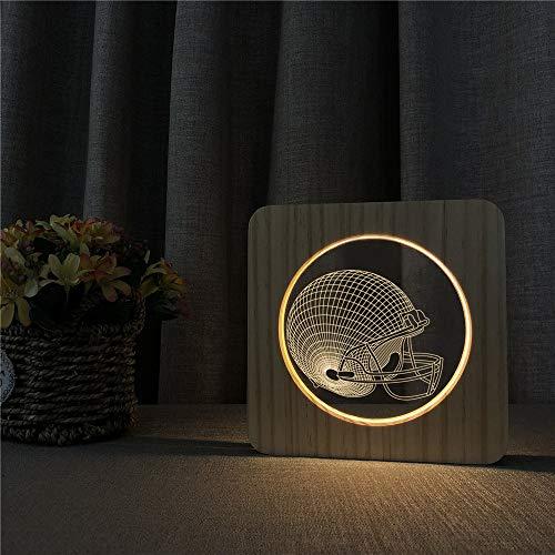 Baseball Hat Helmet 3D LED Lámpara de noche de acrílico Lámpara de mesa Lámpara de talla para la decoración de la habitación de n