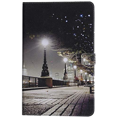Yiizy Hülle für Samsung Galaxy Tab A2 (T590 T595) Hülle PU Ledertasche, Stadtansicht [ID & Kreditkarte] Slots Beutel Taschen Geldbörse Flip Magnética Gürtel Stehen Schutz Schale Tasche