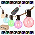 Color Changing String Lights with Remote - 96ft RGB Outdoor LED Colored String Lights Waterproof with 50 G40 Globe Dimmable Shatterproof bulbs for Party Gazebo Pergola Café Ambience String Lights