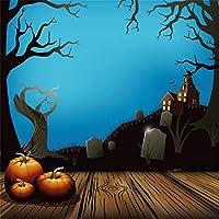 Qinunipoto 背景布 ハロウィン happy halloween 撮影用 写真撮影用 夜 墓地 枯れ木 かぼちゃ 写真の背景 背景幕 商品撮影 人物撮影 写真館 自宅用 子供の写真 ポートレート写真の背景 ビニール 1.8x1.8m