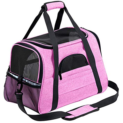 N/D Pet Carrier Backpack,Airline Approved Breathable Portable Transparent Hard-Sided Pet Bag Lightweight for Cats Small Dogs & Petite Animals Pink