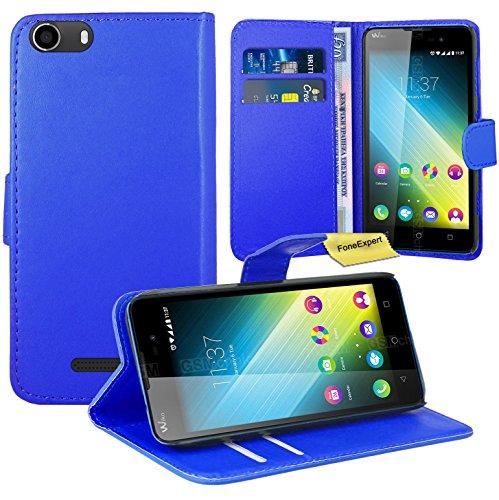 FoneExpert® Wiko Lenny 2 Handy Tasche, Wallet Hülle Flip Cover Hüllen Etui Ledertasche Lederhülle Premium Schutzhülle für Wiko Lenny 2 (Blau)