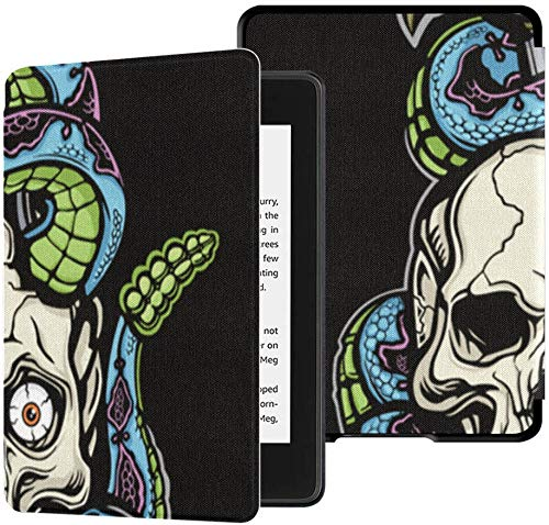 Best Kindle Paperwhite Case Skull with Scary Snake Boy Kindle Paperwhite Case for Kids Case with Auto Wake/Sleep Case for Paperwhite Kindle Generation 10 10th Generation 2018