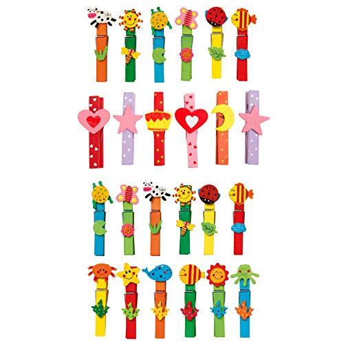 """small foot 7760 Wäscheklammer-Set \""""Tiere\"""" aus buntem Holz, Spielzeug für Kinder, 24 Einheiten, ab 3 Jahren"""