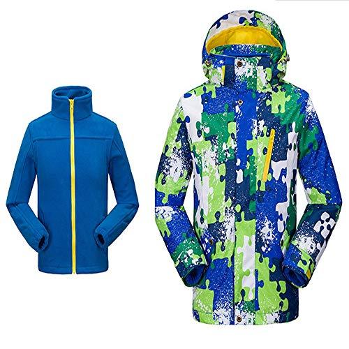 Combinaison De Ski Pour Garçon Ski Down Jacket Enfants 2 En 1 Coupe-Vent En Laine Épaisse Imperméable Etanche Chaude Combinaison Imperméable Ski Tout-en-un Pour Garçon ( Color : Blue , Size : Medium )