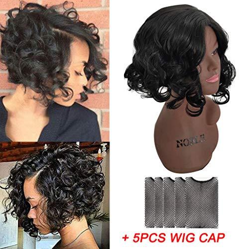 Perruque Brésilienne Bob Wave Bouclé Lace wig Noire Courte Cheveux Frisés Naturelle Femme Ondulée Synthetique 28 CM (Noir(5 net))