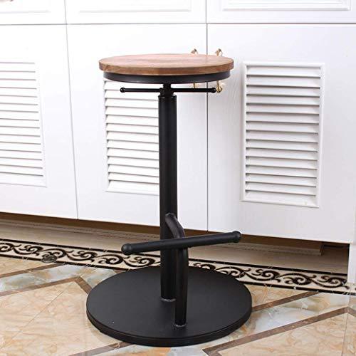 QNN Schreibtischstuhl, Möbeldekoration Vintage Industrial Barhocker Höhe Höhenverstellbare Drehbare Hochhocker Rundes Natürliches Sitzmetallbein,B.
