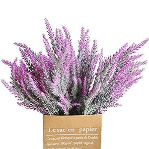 "cn-Knight Artificial Flower 12pcs 15"" Faux Lavender with 5 Sub-Stems Fake Flower Lavandula for Wedding Bridal Bouquet Bridesmaid Groomsman Corsage Home Décor Office Baby Shower Centerpiece"